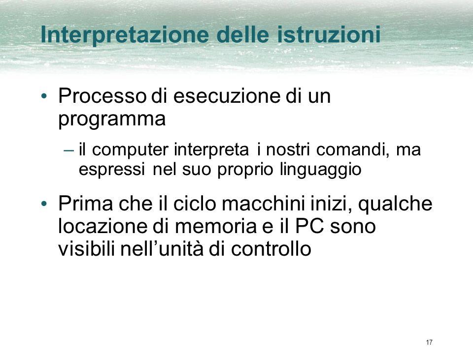 17 Interpretazione delle istruzioni Processo di esecuzione di un programma –il computer interpreta i nostri comandi, ma espressi nel suo proprio linguaggio Prima che il ciclo macchini inizi, qualche locazione di memoria e il PC sono visibili nellunità di controllo