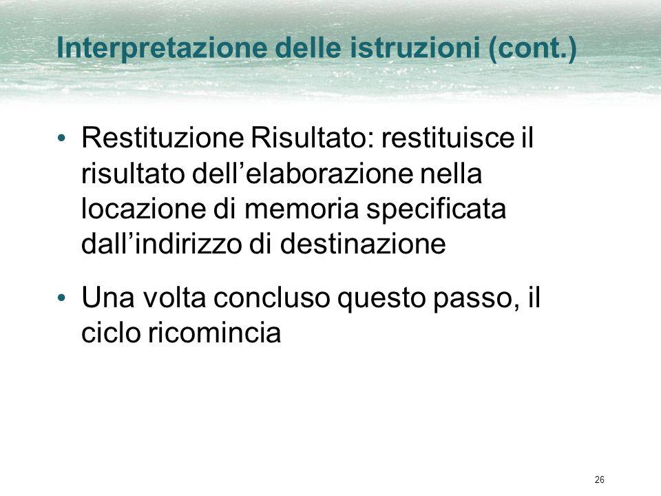 26 Interpretazione delle istruzioni (cont.) Restituzione Risultato: restituisce il risultato dellelaborazione nella locazione di memoria specificata dallindirizzo di destinazione Una volta concluso questo passo, il ciclo ricomincia