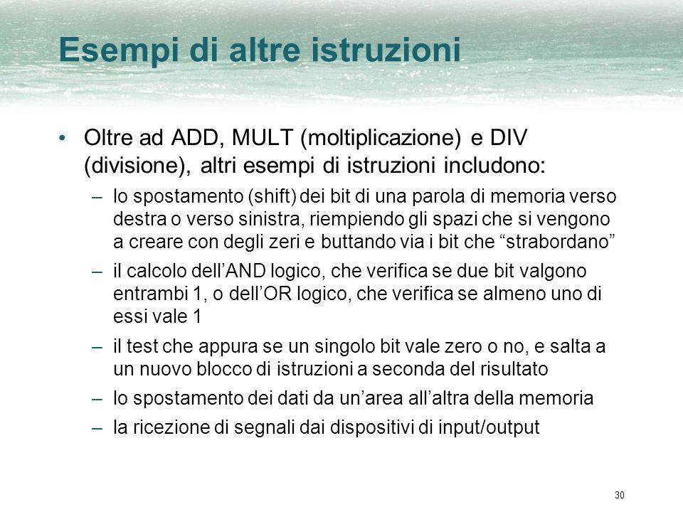 30 Esempi di altre istruzioni Oltre ad ADD, MULT (moltiplicazione) e DIV (divisione), altri esempi di istruzioni includono: –lo spostamento (shift) de