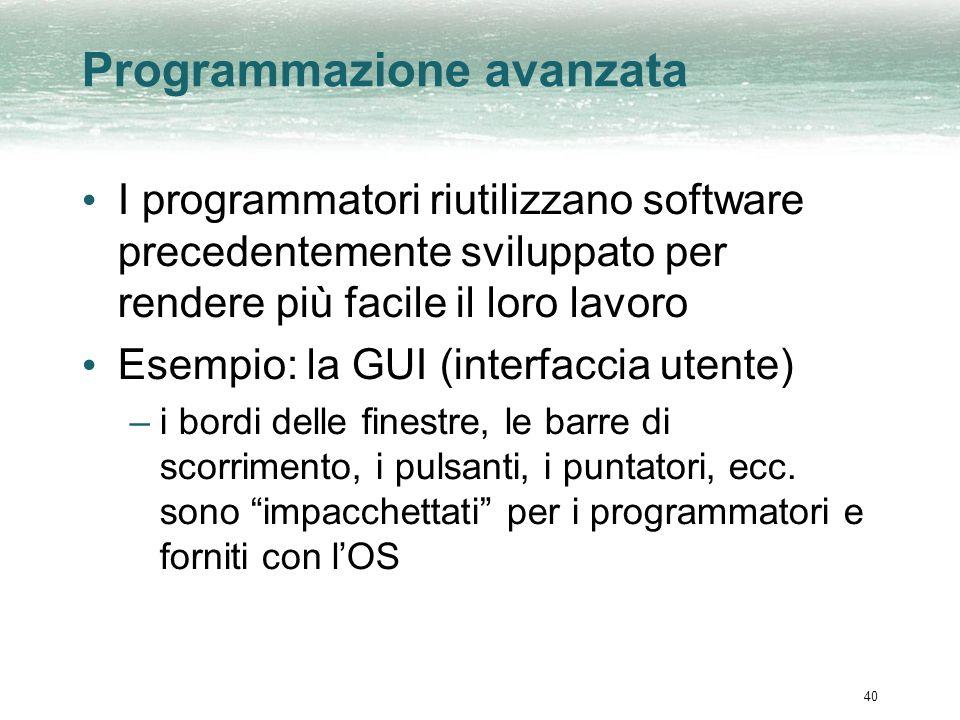 40 Programmazione avanzata I programmatori riutilizzano software precedentemente sviluppato per rendere più facile il loro lavoro Esempio: la GUI (interfaccia utente) –i bordi delle finestre, le barre di scorrimento, i pulsanti, i puntatori, ecc.