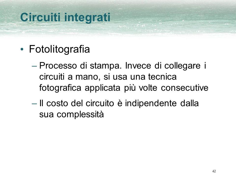 42 Circuiti integrati Fotolitografia –Processo di stampa.