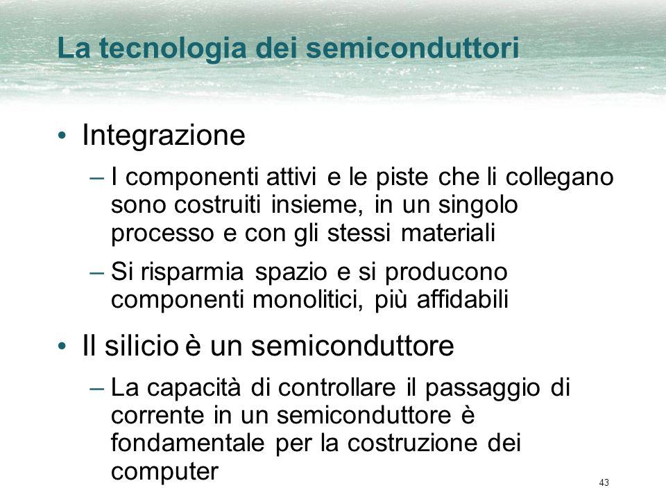 43 La tecnologia dei semiconduttori Integrazione –I componenti attivi e le piste che li collegano sono costruiti insieme, in un singolo processo e con