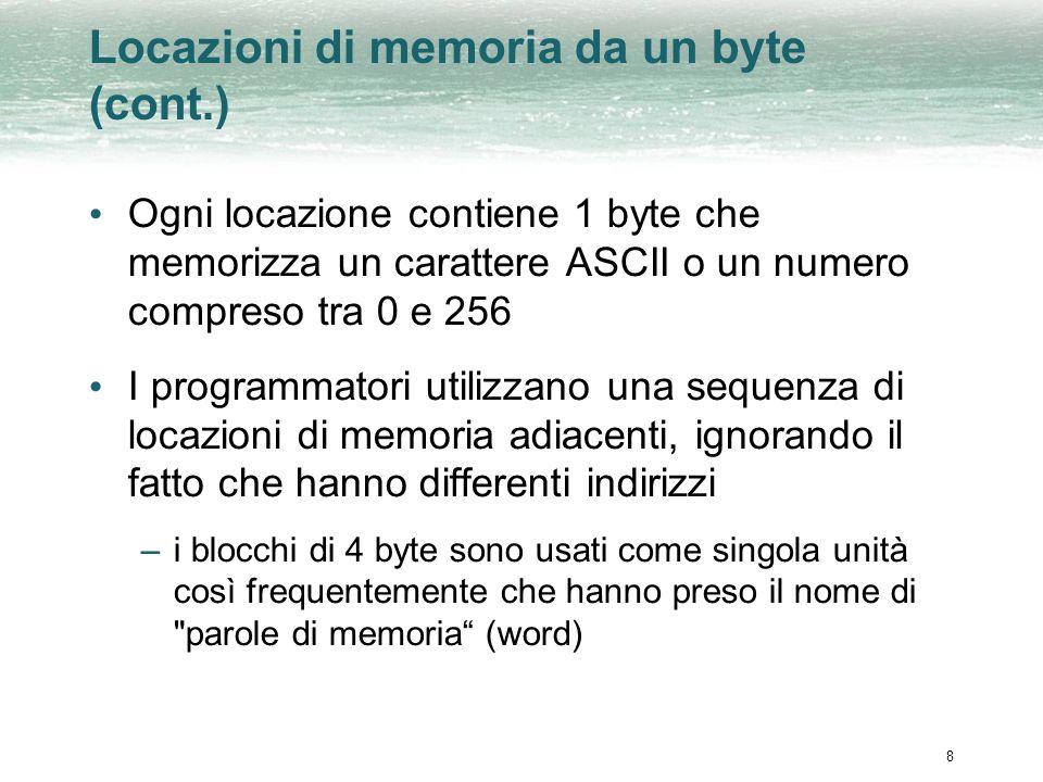8 Locazioni di memoria da un byte (cont.) Ogni locazione contiene 1 byte che memorizza un carattere ASCII o un numero compreso tra 0 e 256 I programma