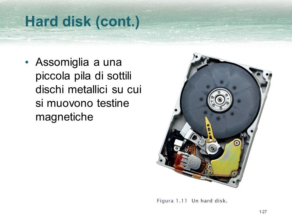 1-27 Hard disk (cont.) Assomiglia a una piccola pila di sottili dischi metallici su cui si muovono testine magnetiche