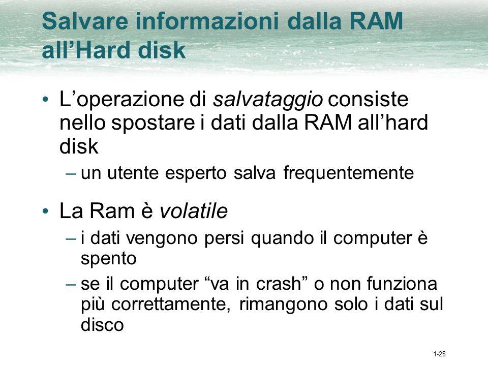 1-28 Salvare informazioni dalla RAM allHard disk Loperazione di salvataggio consiste nello spostare i dati dalla RAM allhard disk –un utente esperto salva frequentemente La Ram è volatile –i dati vengono persi quando il computer è spento –se il computer va in crash o non funziona più correttamente, rimangono solo i dati sul disco