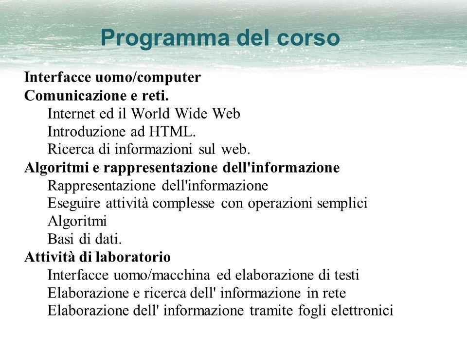Programma del corso Interfacce uomo/computer Comunicazione e reti.
