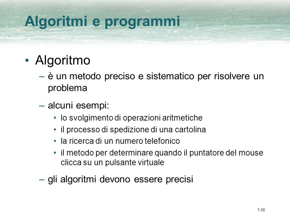 1-31 Algoritmi e programmi (cont.) La programmazione consiste nello scrivere ordinatamente i passi di un algoritmo –un programma è un algoritmo espresso in uno specifico linguaggio Esecuzione di un programma –per avviarla si clicca sullicona di unapplicazione (ad es.
