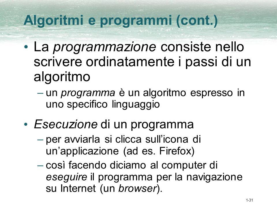 1-32 Processo di booting Booting: accensione del computer Rebooting: riaccensione rapida del computer Le istruzioni per laccensione di un computer sono memorizzate in un microchip chiamato boot ROM
