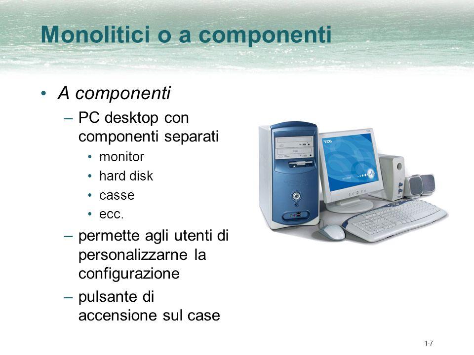 1-8 Monolitici o a componenti (cont.) Monolitici –gli iMac o i portatili sono costituiti da un unico blocco che comprende tutti i componenti –semplici ed economici –pulsante daccensione sul lato del computer, talvolta addirittura sulla tastiera