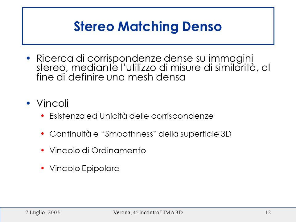 7 Luglio, 2005Verona, 4° incontro LIMA 3D12 Stereo Matching Denso Ricerca di corrispondenze dense su immagini stereo, mediante lutilizzo di misure di similarità, al fine di definire una mesh densa Vincoli Esistenza ed Unicità delle corrispondenze Continuità e Smoothness della superficie 3D Vincolo di Ordinamento Vincolo Epipolare
