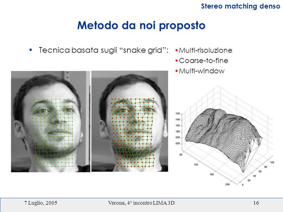 7 Luglio, 2005Verona, 4° incontro LIMA 3D16 Metodo da noi proposto Tecnica basata sugli snake grid: Stereo matching denso Multi-risoluzione Coarse-to-fine Multi-window