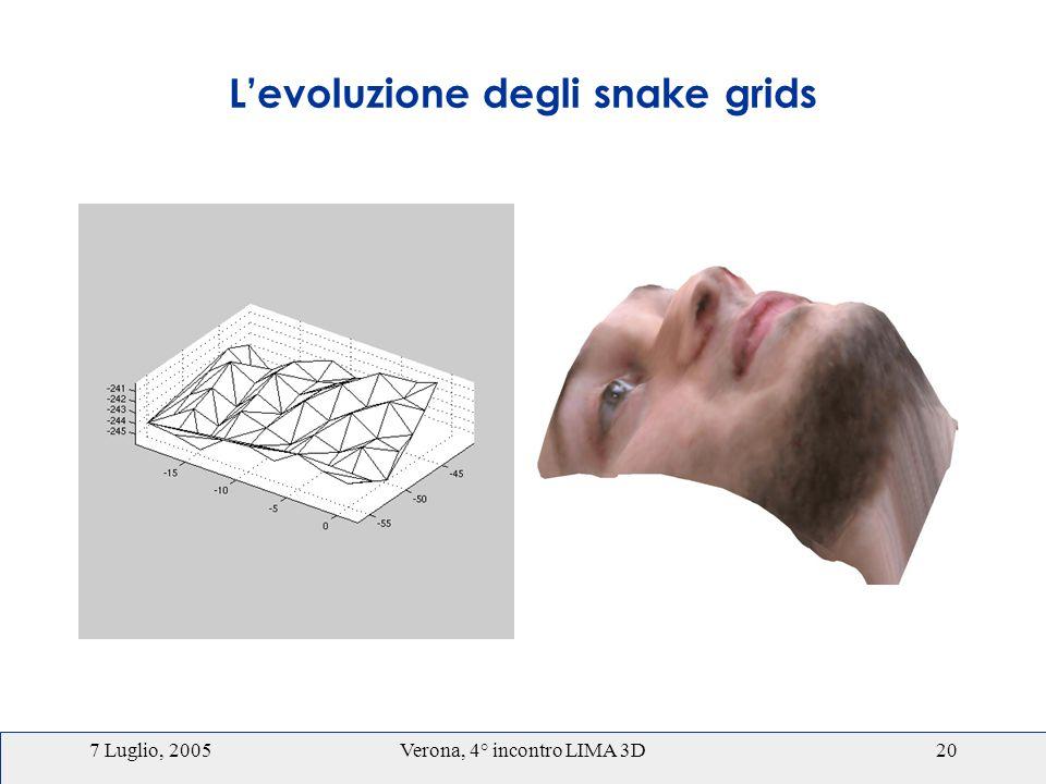 7 Luglio, 2005Verona, 4° incontro LIMA 3D20 Levoluzione degli snake grids
