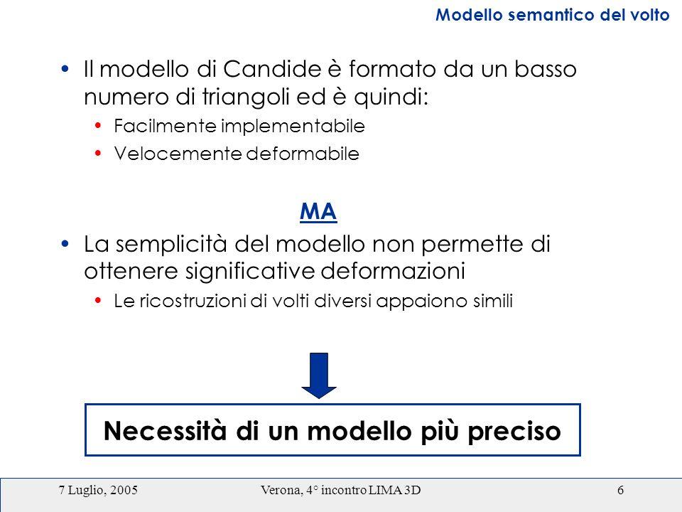 7 Luglio, 2005Verona, 4° incontro LIMA 3D6 Il modello di Candide è formato da un basso numero di triangoli ed è quindi: Facilmente implementabile Velocemente deformabile MA La semplicità del modello non permette di ottenere significative deformazioni Le ricostruzioni di volti diversi appaiono simili Necessità di un modello più preciso Modello semantico del volto
