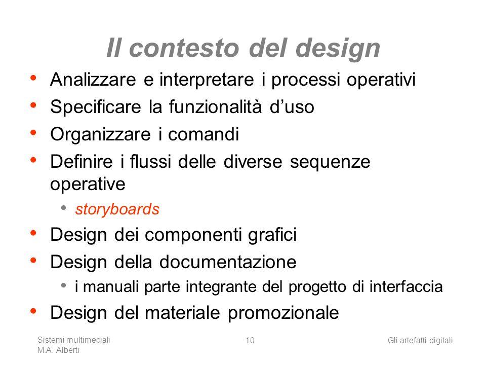 Sistemi multimediali M.A. Alberti Gli artefatti digitali10 Il contesto del design Analizzare e interpretare i processi operativi Specificare la funzio