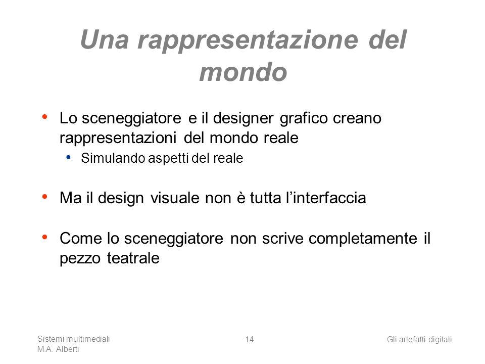 Sistemi multimediali M.A. Alberti Gli artefatti digitali14 Una rappresentazione del mondo Lo sceneggiatore e il designer grafico creano rappresentazio