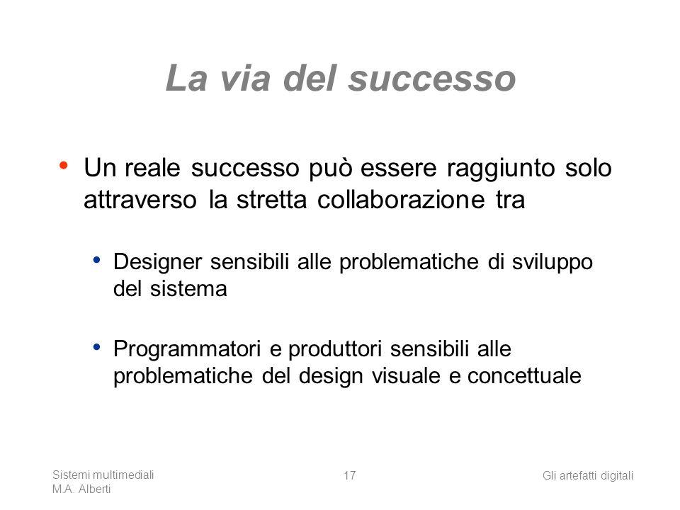 Sistemi multimediali M.A. Alberti Gli artefatti digitali17 La via del successo Un reale successo può essere raggiunto solo attraverso la stretta colla