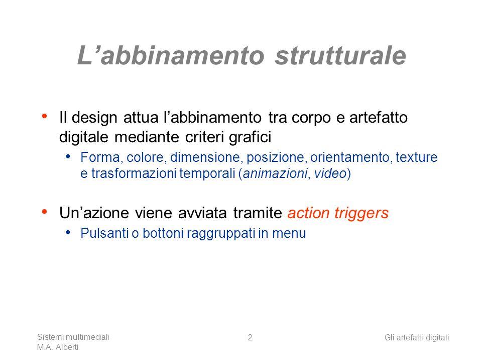 Sistemi multimediali M.A. Alberti Gli artefatti digitali2 Labbinamento strutturale Il design attua labbinamento tra corpo e artefatto digitale mediant
