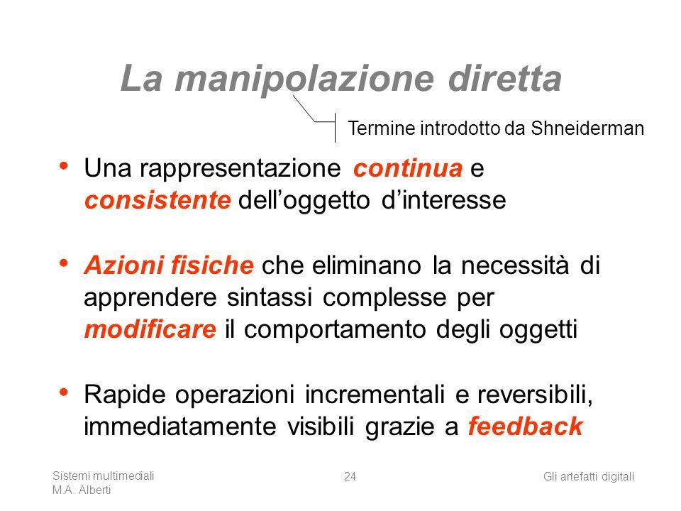 Sistemi multimediali M.A. Alberti Gli artefatti digitali24 La manipolazione diretta Una rappresentazione continua e consistente delloggetto dinteresse