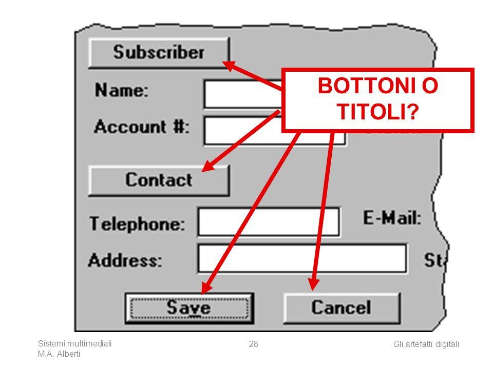 Sistemi multimediali M.A. Alberti Gli artefatti digitali28 BOTTONI O TITOLI?