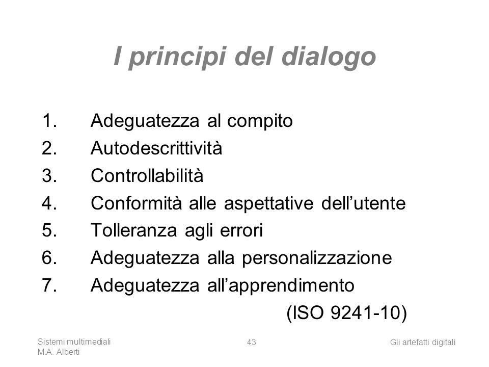 Sistemi multimediali M.A. Alberti Gli artefatti digitali43 I principi del dialogo 1.Adeguatezza al compito 2.Autodescrittività 3.Controllabilità 4.Con