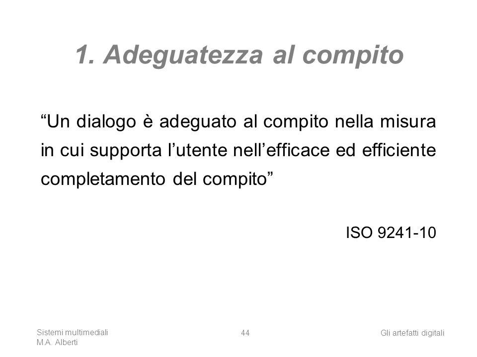 Sistemi multimediali M.A. Alberti Gli artefatti digitali44 1. Adeguatezza al compito Un dialogo è adeguato al compito nella misura in cui supporta lut