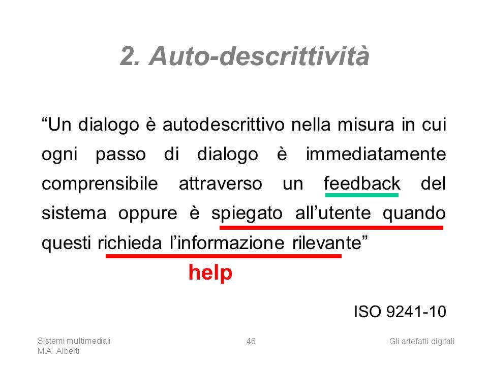 Sistemi multimediali M.A. Alberti Gli artefatti digitali46 2. Auto-descrittività Un dialogo è autodescrittivo nella misura in cui ogni passo di dialog