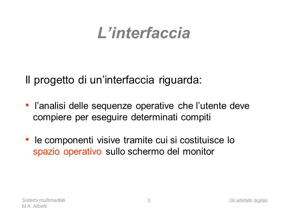 Sistemi multimediali M.A. Alberti Gli artefatti digitali5 Linterfaccia Il progetto di uninterfaccia riguarda: lanalisi delle sequenze operative che lu