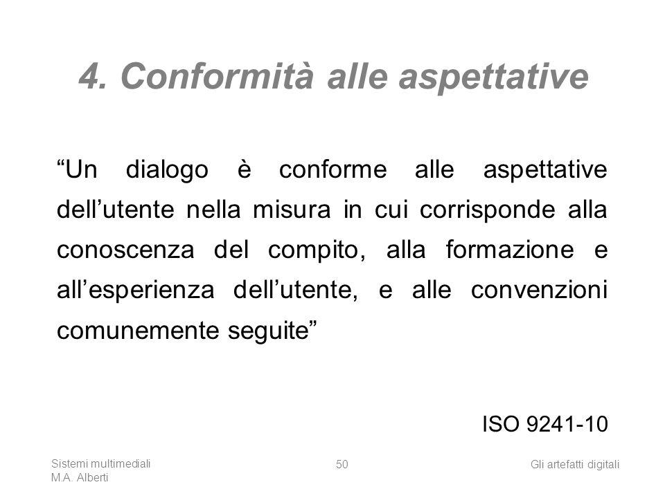 Sistemi multimediali M.A. Alberti Gli artefatti digitali50 4. Conformità alle aspettative Un dialogo è conforme alle aspettative dellutente nella misu