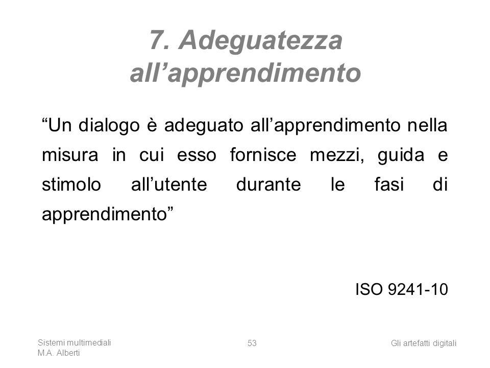 Sistemi multimediali M.A. Alberti Gli artefatti digitali53 7. Adeguatezza allapprendimento Un dialogo è adeguato allapprendimento nella misura in cui