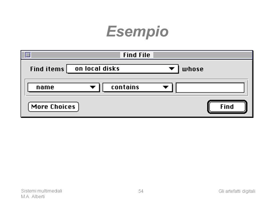 Sistemi multimediali M.A. Alberti Gli artefatti digitali54 Esempio
