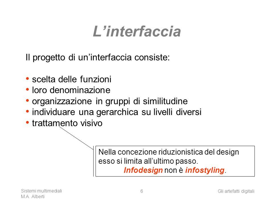 Sistemi multimediali M.A. Alberti Gli artefatti digitali6 Linterfaccia Il progetto di uninterfaccia consiste: scelta delle funzioni loro denominazione