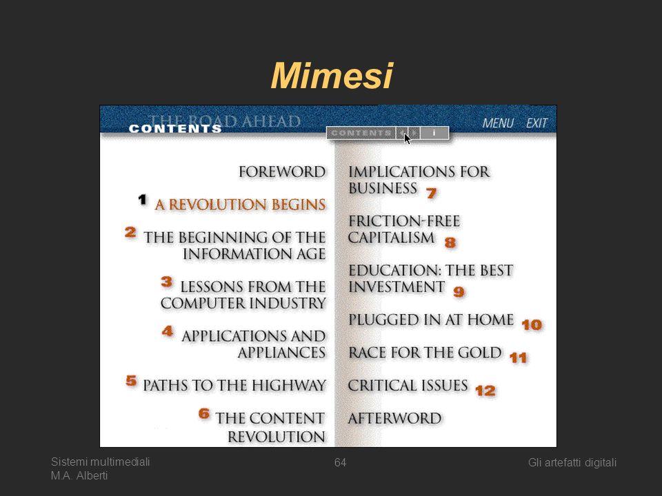 Sistemi multimediali M.A. Alberti Gli artefatti digitali64 Mimesi