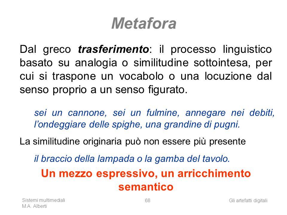 Sistemi multimediali M.A. Alberti Gli artefatti digitali68 Metafora Dal greco trasferimento: il processo linguistico basato su analogia o similitudine