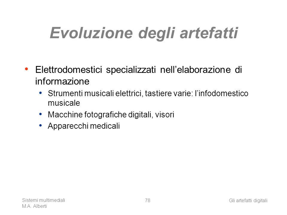 Sistemi multimediali M.A. Alberti Gli artefatti digitali78 Evoluzione degli artefatti Elettrodomestici specializzati nellelaborazione di informazione