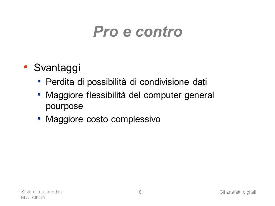 Sistemi multimediali M.A. Alberti Gli artefatti digitali81 Pro e contro Svantaggi Perdita di possibilità di condivisione dati Maggiore flessibilità de