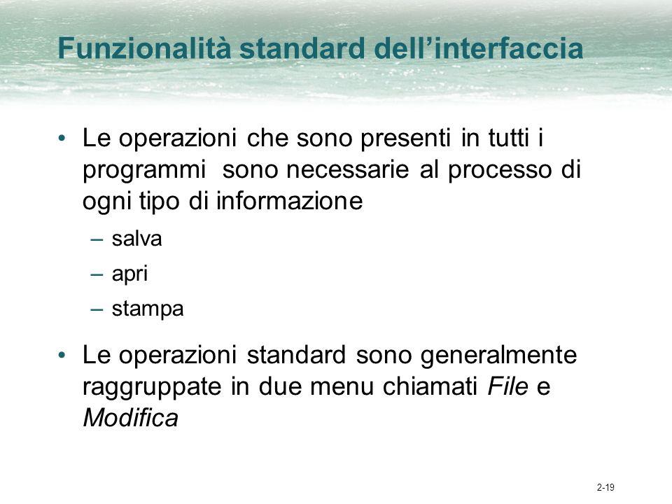 2-19 Funzionalità standard dellinterfaccia Le operazioni che sono presenti in tutti i programmi sono necessarie al processo di ogni tipo di informazione –salva –apri –stampa Le operazioni standard sono generalmente raggruppate in due menu chiamati File e Modifica