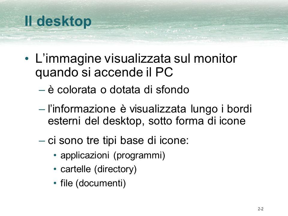 2-2 Il desktop Limmagine visualizzata sul monitor quando si accende il PC –è colorata o dotata di sfondo –linformazione è visualizzata lungo i bordi esterni del desktop, sotto forma di icone –ci sono tre tipi base di icone: applicazioni (programmi) cartelle (directory) file (documenti)