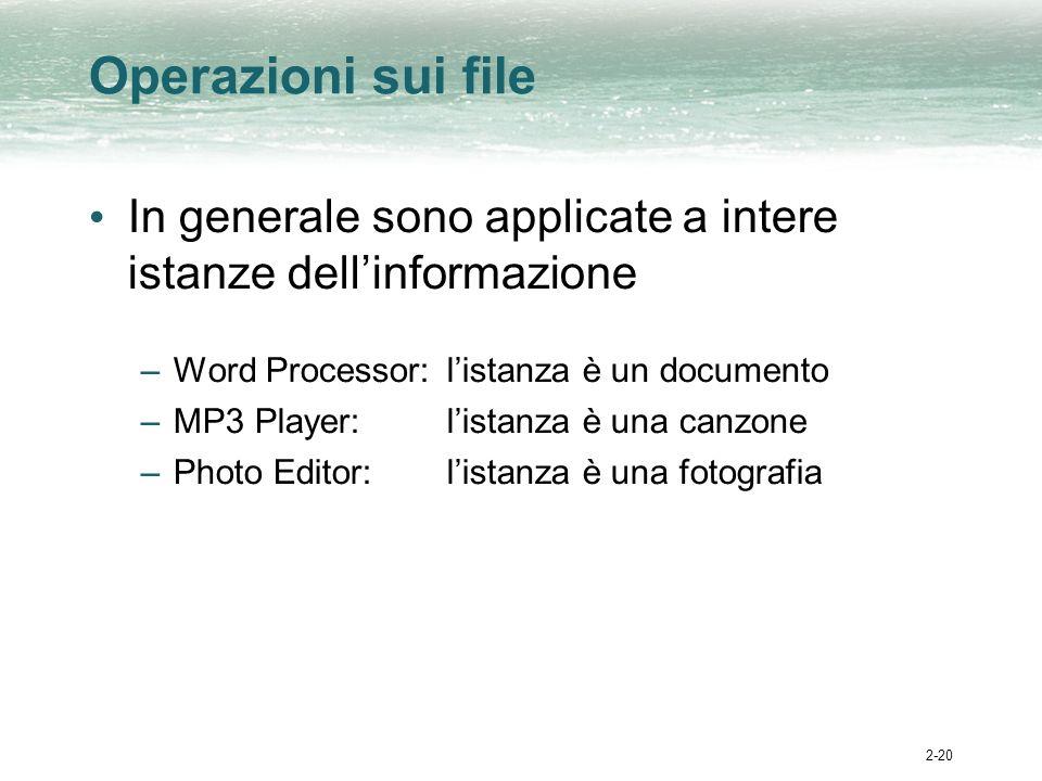 2-20 Operazioni sui file In generale sono applicate a intere istanze dellinformazione –Word Processor:listanza è un documento –MP3 Player:listanza è una canzone –Photo Editor:listanza è una fotografia