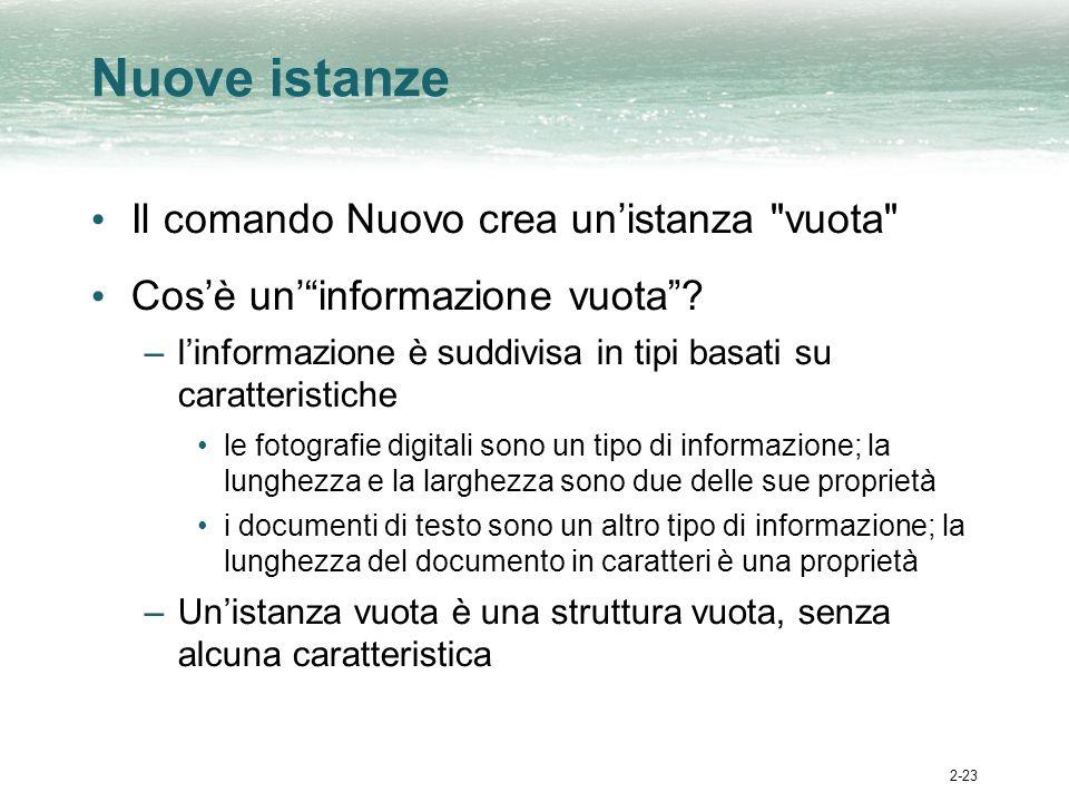 2-23 Nuove istanze Il comando Nuovo crea unistanza vuota Cosè uninformazione vuota.