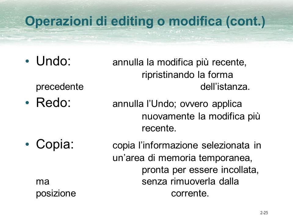 2-25 Operazioni di editing o modifica (cont.) Undo: annulla la modifica più recente, ripristinando la forma precedente dellistanza.