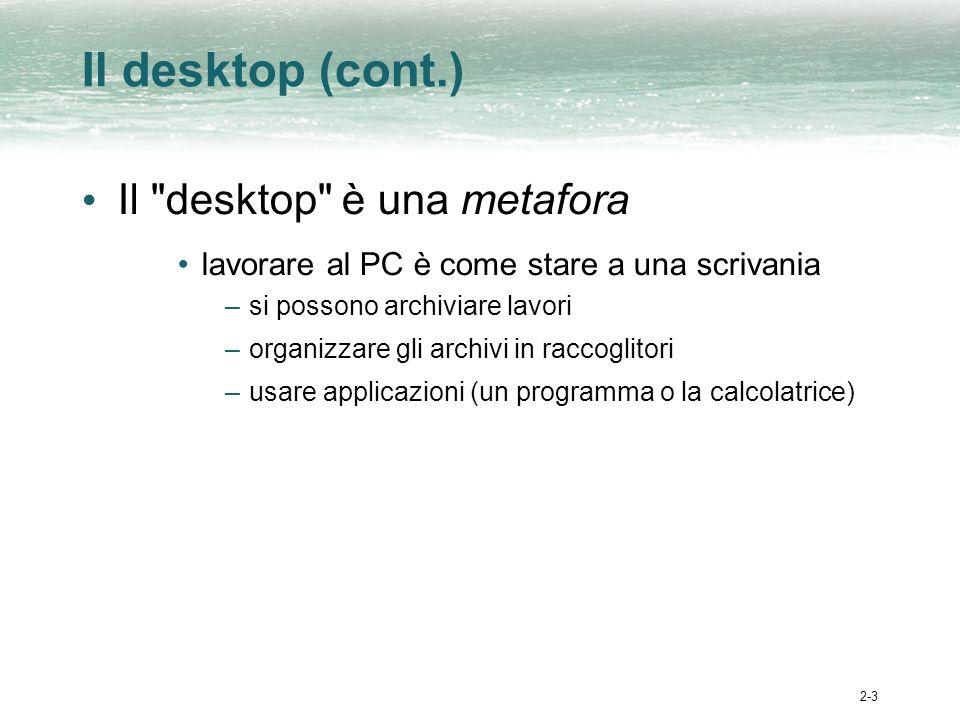 2-3 Il desktop (cont.) Il desktop è una metafora lavorare al PC è come stare a una scrivania –si possono archiviare lavori –organizzare gli archivi in raccoglitori –usare applicazioni (un programma o la calcolatrice)