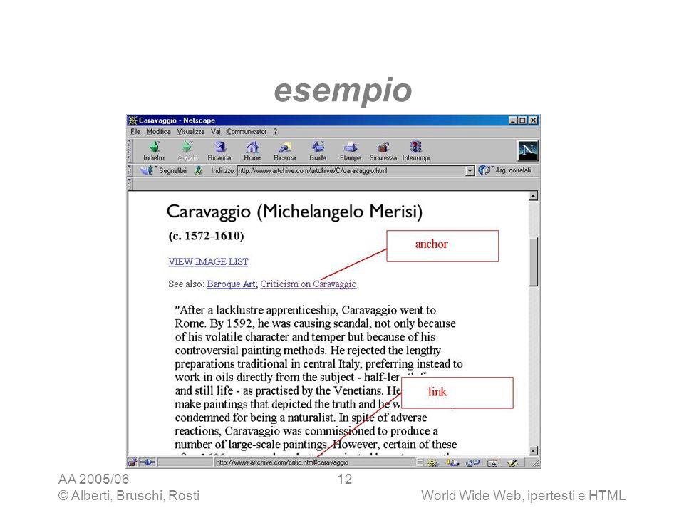 AA 2005/06 © Alberti, Bruschi, RostiWorld Wide Web, ipertesti e HTML 12 esempio