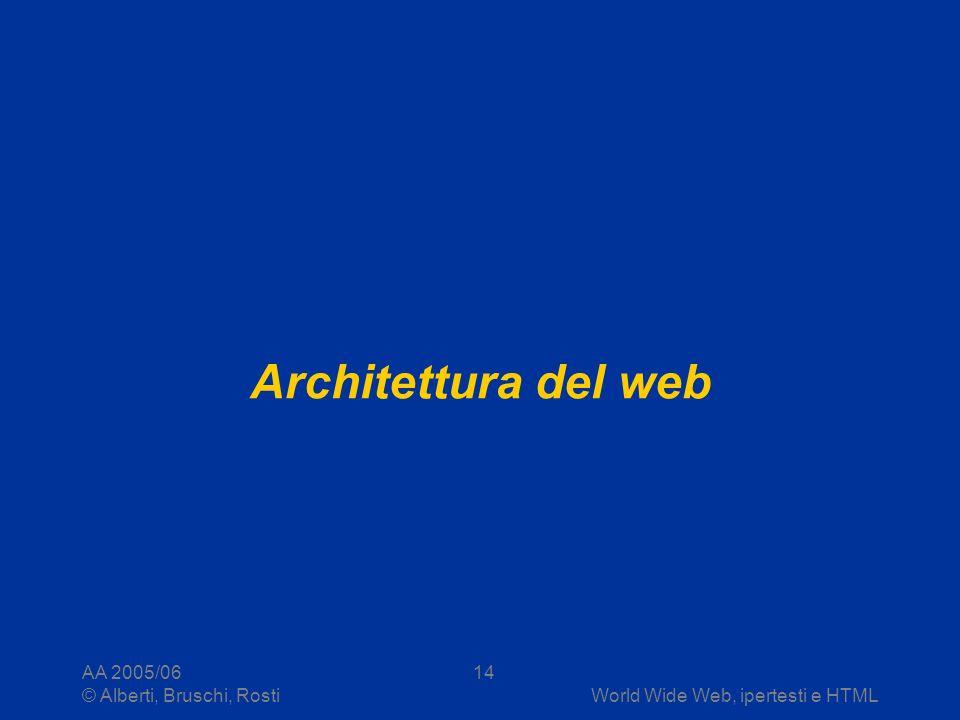 AA 2005/06 © Alberti, Bruschi, RostiWorld Wide Web, ipertesti e HTML 14 Architettura del web