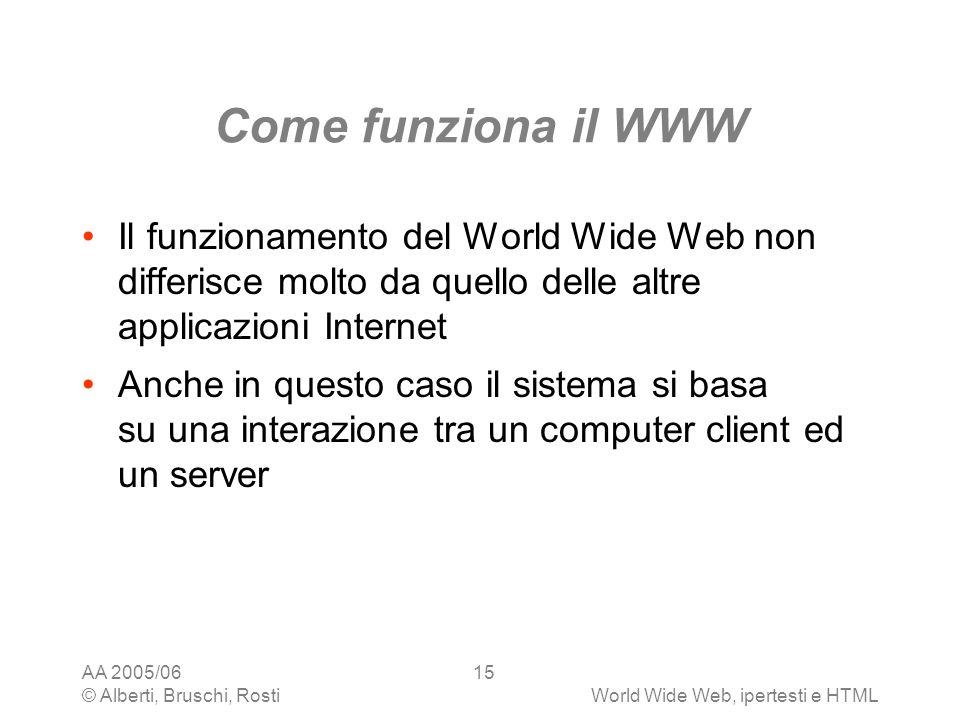AA 2005/06 © Alberti, Bruschi, RostiWorld Wide Web, ipertesti e HTML 15 Come funziona il WWW Il funzionamento del World Wide Web non differisce molto