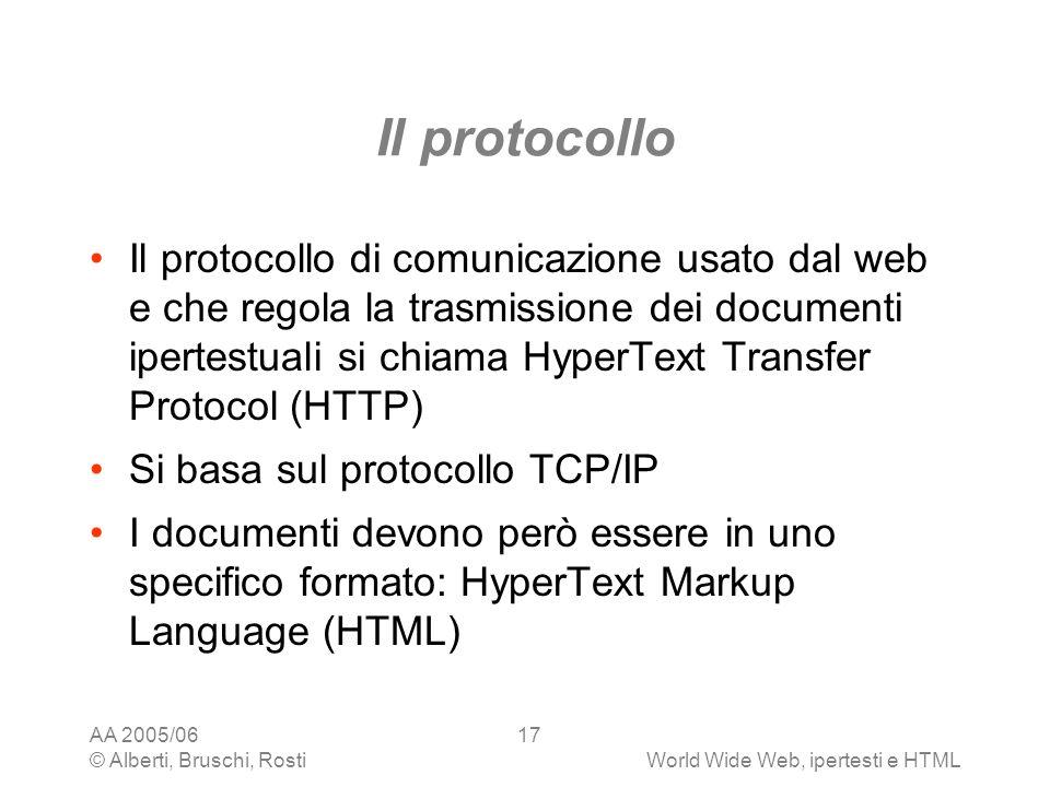 AA 2005/06 © Alberti, Bruschi, RostiWorld Wide Web, ipertesti e HTML 17 Il protocollo Il protocollo di comunicazione usato dal web e che regola la tra