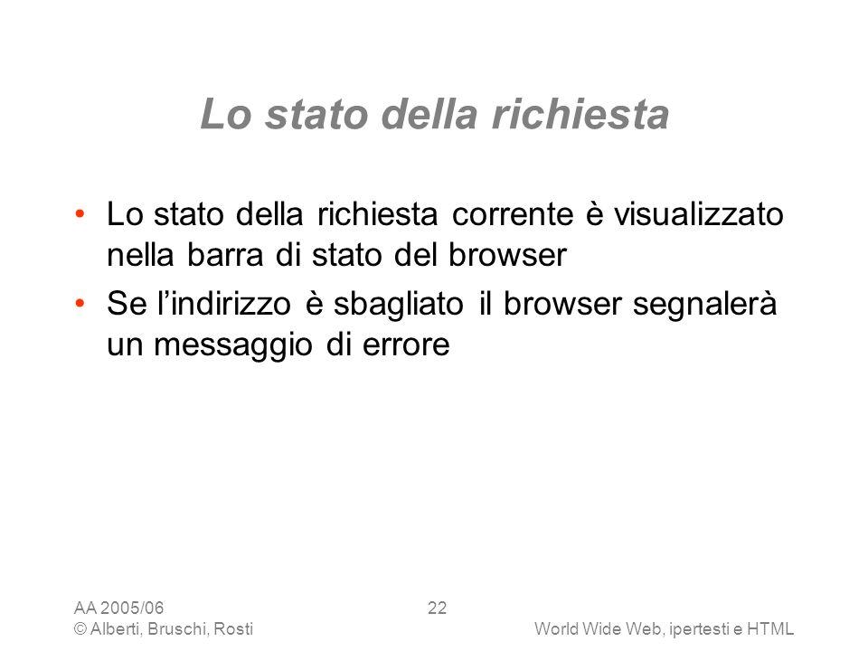 AA 2005/06 © Alberti, Bruschi, RostiWorld Wide Web, ipertesti e HTML 22 Lo stato della richiesta Lo stato della richiesta corrente è visualizzato nell