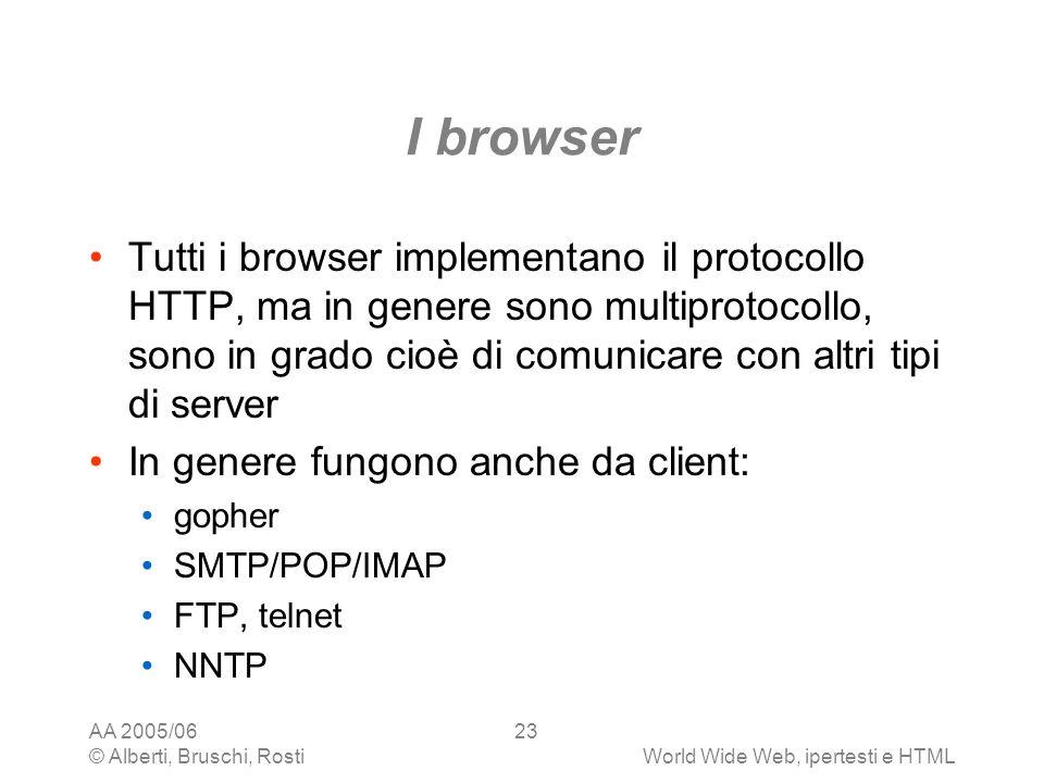 AA 2005/06 © Alberti, Bruschi, RostiWorld Wide Web, ipertesti e HTML 23 I browser Tutti i browser implementano il protocollo HTTP, ma in genere sono m