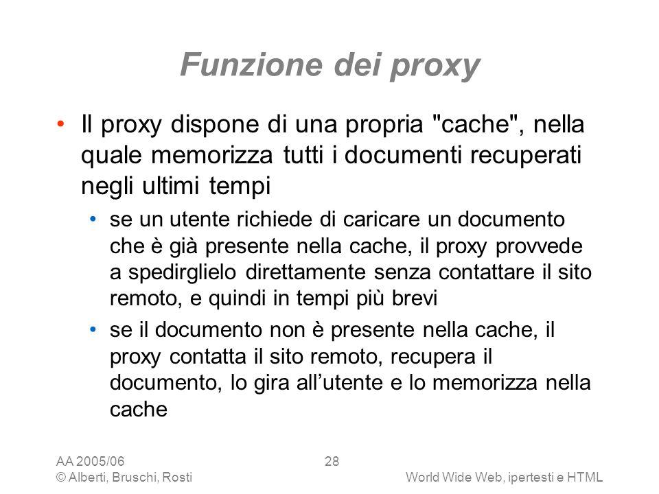 AA 2005/06 © Alberti, Bruschi, RostiWorld Wide Web, ipertesti e HTML 28 Funzione dei proxy Il proxy dispone di una propria