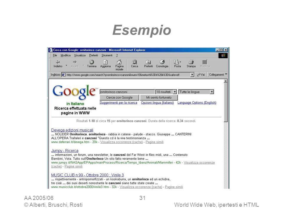 AA 2005/06 © Alberti, Bruschi, RostiWorld Wide Web, ipertesti e HTML 31 Esempio