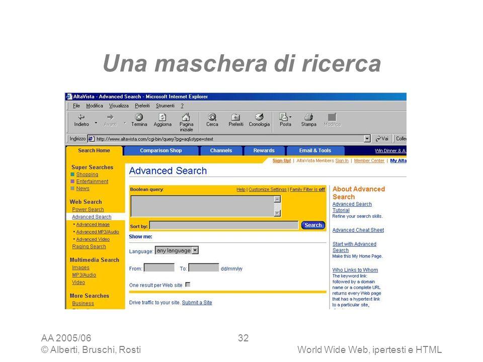 AA 2005/06 © Alberti, Bruschi, RostiWorld Wide Web, ipertesti e HTML 32 Una maschera di ricerca